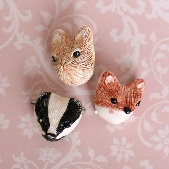 Ceramic Woodland Animal Brooch
