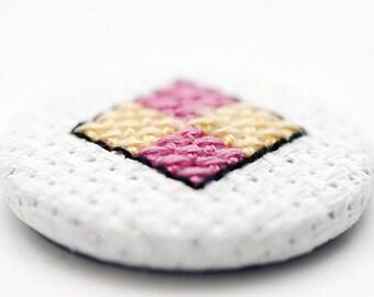 Cross Stitch Battenburg Cake Pin Badge