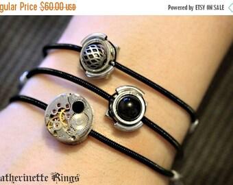 Cyber-steampunk - 3 Bracelets - Black