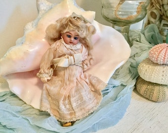 Antique Composition German Girl Doll for Doll Under Clothes Lace Dress - Teeth - Glass Sleep Eyes - Wig -