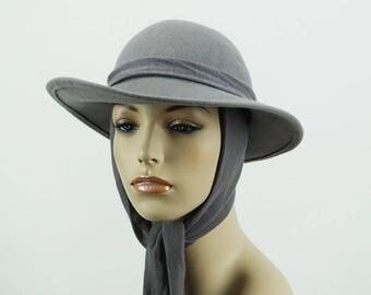 Vintage Grey Wool Scarf Hat Fedora Style Sz 22