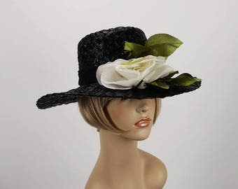 Vintage Hat Black Straw Circle Wide Brim with White Silk Rose by Patti Paris Sz 22