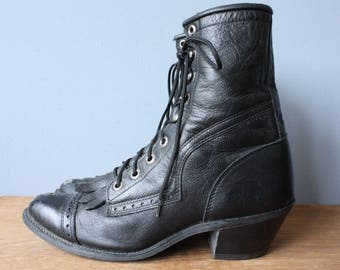 vintage fringe roper boots / mens or womens black leather boots / wedge chunky heel