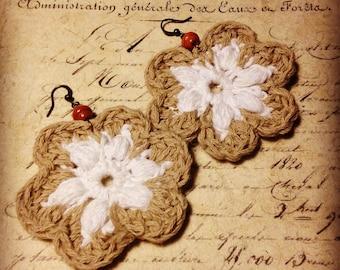 Crocheted Earring - White Summer