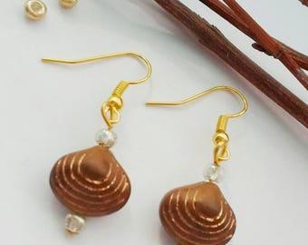 SALE - Brown Shell Earrings, Brown Drop Earrings, Gift For Her, Beaded Earrings, Elegant Earrings, Gift For Mum, Everyday Earrings,