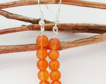 Orange Bead Earrings, Orange Earrings, Beaded Earrings, Drop Earrings, Orange Jewelry, Orange Drop Earrings, Gifts For Her, Boho Earrings