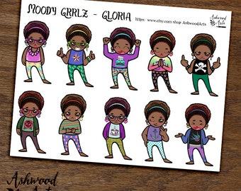 Moody Grrlz - Gloria Cute Girl Planner Stickers