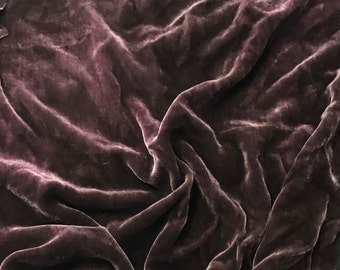 Victorian MAUVE HAND DYED Silk Velvet Fabric fat 1/4