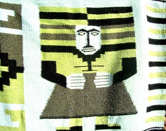 Vintage HAND WOVEN Blanket Rug Tapestry AZTEC Mayan Mexican Southwestern Eqyptian
