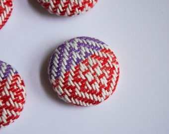 Hand woven buttons, red, purple twill