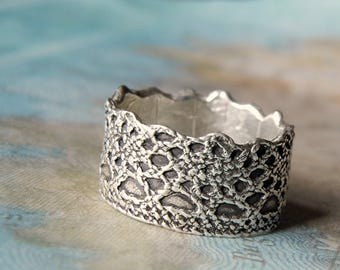 Silver Lace Ring, Silver Crown Ring, Sterling Silver Boho Lace Ring, Boho Ring, Boho Jewelry Lace Ring, Princess Crown Ring, Queen Crown