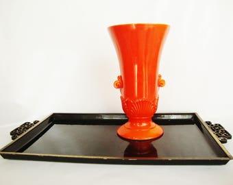 vintage orange vase art deco style vitrack white glasee