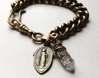 Thick Chain Bracelet Raw Crystal Bracelet Chunky Bracelet Daniellerosebean Unisex Bracelet Chain Jewelry Healing Bracelet Chakra