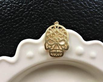 Skull Necklace, Sugar Skull Necklace, Calavera Necklace, Calavera Jewelry, Skull Jewelry, Skull Necklace, Gold Plated Skull Necklace