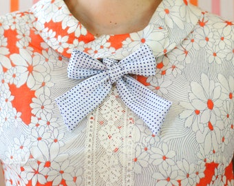 white and navy swiss dot pussy bow // self tie bow tie for women // xoelle lady tie