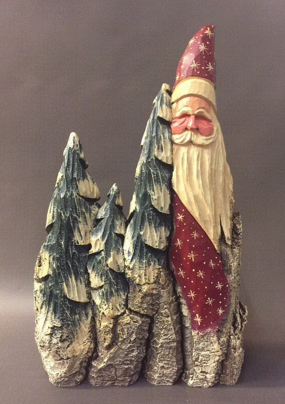 HAND CARVED original wide Santa and trees from 100 year old Cottonwood Bark.