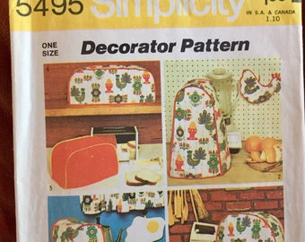 Vintage Simplicity 5495 Kitchen Appliance Covers and Potholders Crafts Pattern Uncut