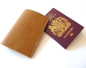 Leather Passport Holder, Case, Dark Mustard