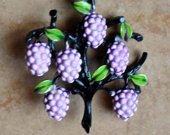 Vintage Grapes Enamel Brooch
