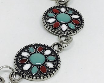 Silver and Turquoise Enameled Medallion Bracelet, Handmade  8 inches