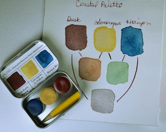Muted Primary Trio Palette, Anthesis Arts Artisanal Handcrafted Watercolor Paints, Signature Small Caps, Travel Set of Three
