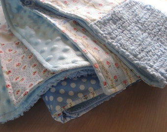 """Cottage Chic Bluebird Embroidery Patchwork Quilt - Blue Polka Dots - Throw - Handmade - Heirloom - 43"""" W x 54"""" L - #61"""