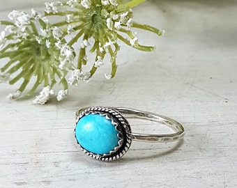 Natural Turquoise Sterling Silver Ring Oxidized Ring