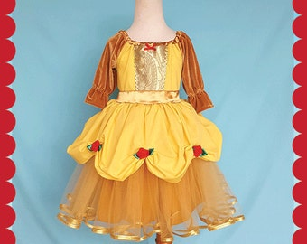 BELLE dress, Belle costume, holiday dress, princess dress, Beauty and the Beast party, holiday princess dress