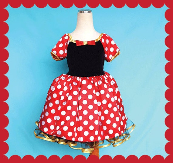 MINNIE MOUSE dress, Minnie Mouse costume, red and gold Minnie Mouse dress,  Minnie Mouse Party Dress, Minnie Mouse dress, satin, SALE 4/5T