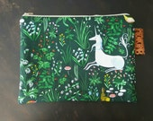 Large Padded Zipper Pouch Project Bag Whimsical Unicorn