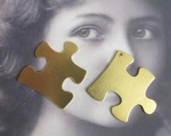 Raw Brass Autism Awareness Symbol Puzzle Piece Charms 450RAW x2