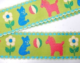 """Extra Wide Woven Jacquard Ribbon Trim 3"""" Wide- Embroidery - Children - Kid- Baby - Horse Teddy Bear Pattern"""