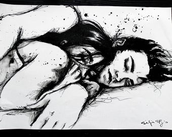 12x16in A3 ink painting - cuddling couple - black and white wall art - ver6