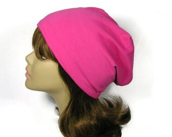 100% Cotton Jersey Knit Pink Hats Pink Chemo Cap Slouchy Hat Pink Slouch Hat for Hair Loss Hot Pink Slouchy Beanie Reversible Pink Red Hats
