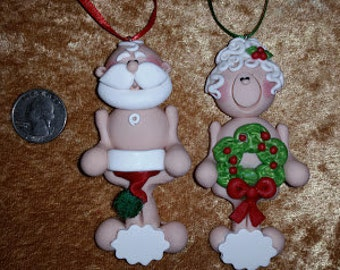 Family of 2 - Couple Handmade Polymer Clay NAUGHTY Santa ClAuSe & MrS cLaUsE Christmas Ornament set of 2