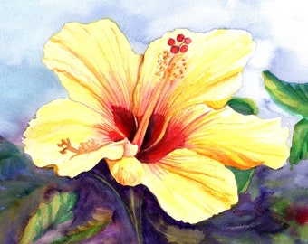 yellow hibiscus, original hibiscus paintings, watercolor art, tropical flowers, hawaii wall art, hawaiian paintings, kauai maui oahu