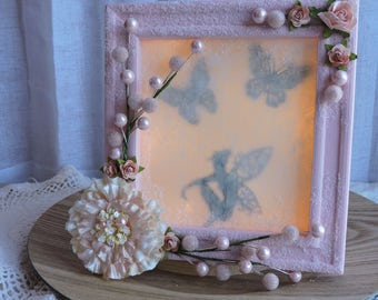 Pink Lighted Fairy Shadow box with flowers and butterflies