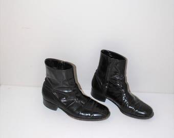 1960s black leather beatle boots 60s vintage mod retro mens florsheim boots size 8.5