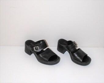 harley davidson platform sandals 90s motorcycle culture chunky sheel slip on mule platforms size 7