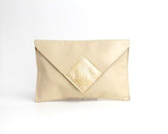 Vintage 1970s Leather and Snakeskin Envelope Clutch Bag | Neutral Cowhide Leather Bag