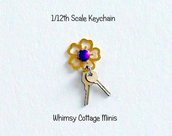 Dollhouse Miniature Keys Keychain, Metal Flower with Purple Center  - 1/12th Scale