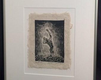 FRAMED 12X16 Original Woodcut Handmade Paper Classic Model Pose Sweet Rain Male Figure
