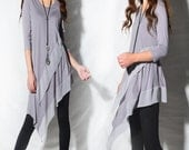 Leaves in breeze - zen layered tunic dress / idea2lifestyle boho tunic / 3/4 sleeve dress light cotton dress / flowing tunic dress (Q1997a)