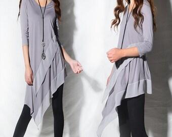Leaves in breeze - zen layered tunic dress / idea2lifestyle boho tunic / 3/4 sleeve dress light cotton dress / flowing tunic dress (Q1997a)