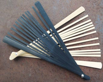 Natural Wood Bamboo Fan Sticks - Black Finish or Natural - Make your Own Summer Fan - Keep Cool