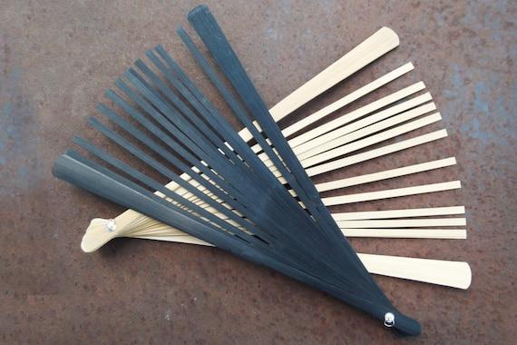 Natural Wood Bamboo Fan Sticks Black Finish Or Natural