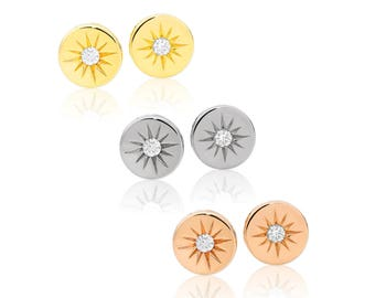 Sunshine Diamond Stud Earrings solid Gold