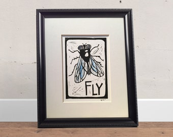 F is for Fly Linocut