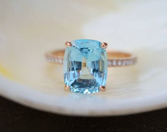 Aquamarine Engagement Ring 14k Rose Gold Ring 3.47ct Seafoam Blue Green cushion cut aquamarine engagement ring