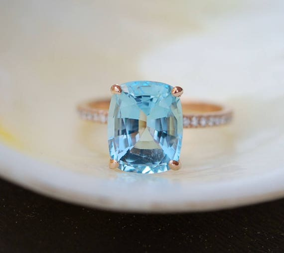 Aquamarine Engagement Ring 14k Rose Gold Ring 3.47ct Seafoam Blue Green cushion cut aquamarine engagement ring
